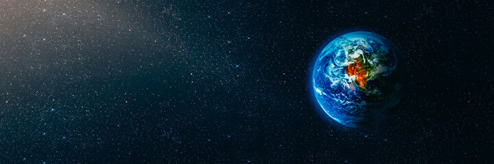 Wall Mural - View of the earth from the moon. Elements of this image furnished by NASA