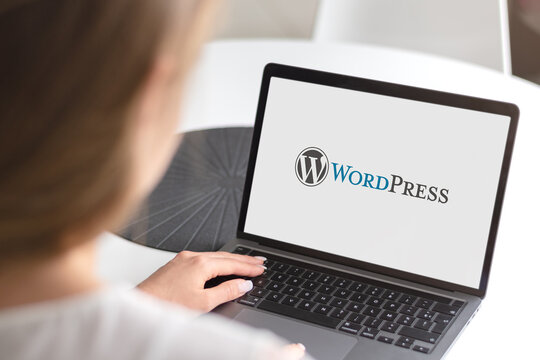 Guilherand-Granges, France - January 15, 2021. Notebook with WordPress logo. Free and open-source content management system (CMS).