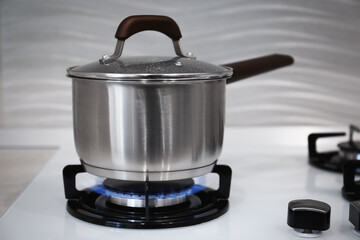 Pot on modern kitchen stove with burning gas