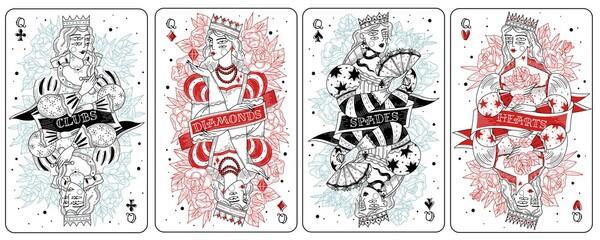 Fototapeta Playing cards queens set obraz