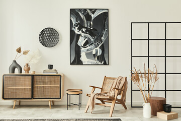 Stylish scandinavian living room interior of modern apartment with wooden commode, design armchair,...