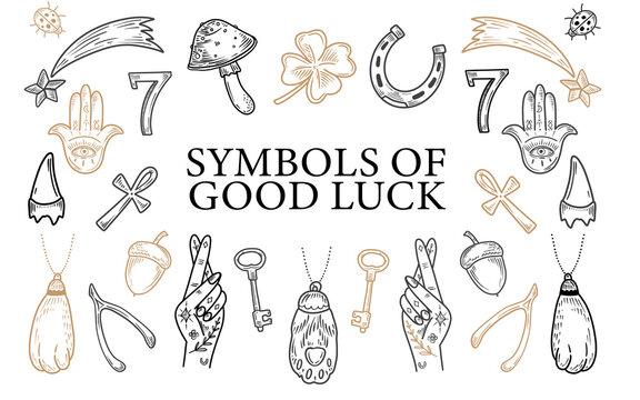 Charms of Good Luck. Hand drawn doodle Lucky symbols set. Luck symbols of wealth elements Ladybug Clover Horseshoe Wishbone. symbols of luck