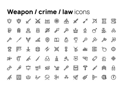 Weapon, crime, law. High quality concepts of linear minimalistic flat vector icons set for web sites, interface of mobile applications and design of printed products.