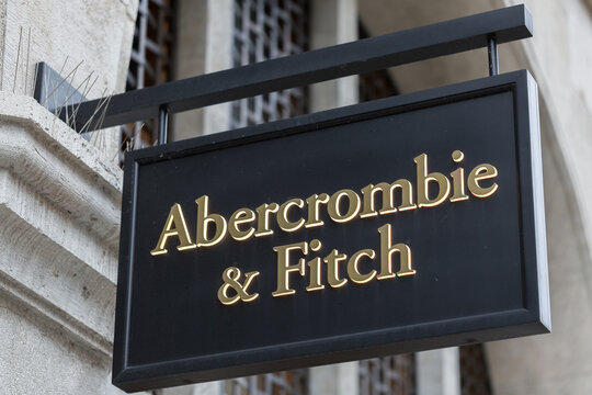 Munich, Bavaria / Germany - Oct 2, 2019: View on sign with Abercrombie & Fitch logo and writing above a store entrance.