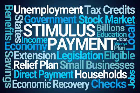 Stimulus Payment Word Cloud on Blue Background