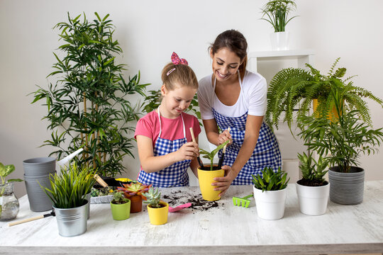 Mother and her daughter having some planting fun in their home