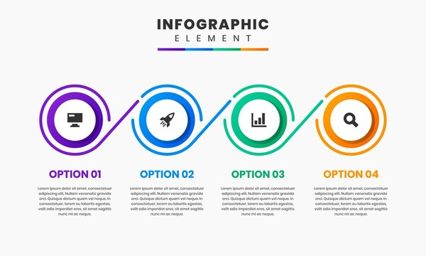 Vector Graphic of Infographic Element Design Templates with Icons and 4 Options or Steps. Suitable for Process Diagram, Presentations, Workflow Layout, Banner, Flow Chart, Infographic.