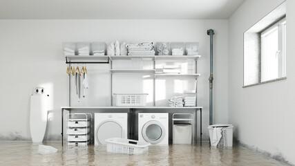 Obraz Wasserschaden in Waschküche im Keller mit Schimmel - fototapety do salonu