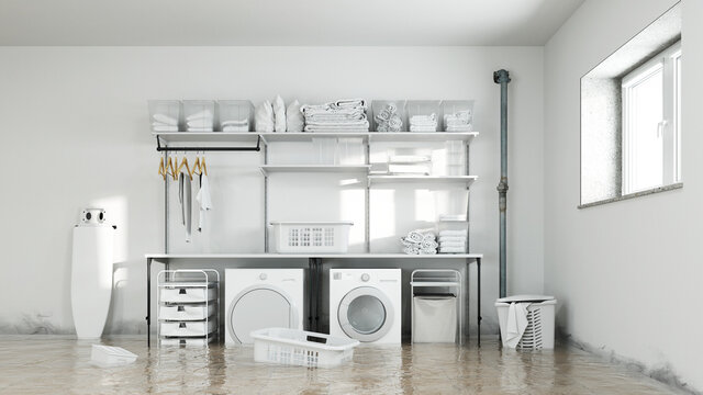 Wasserschaden in Waschküche im Keller mit Schimmel