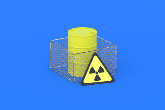 Barrel with radioactive substance behind fence and warning sign. Storage, protection radiation waste or nuclear fuel. Limited access. 3d render