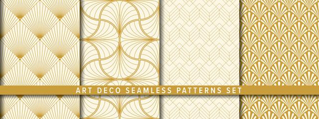 Seamless vector pattern set. Art-Deco background. アールデコ 背景のベクターパターンセット