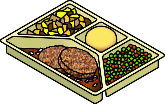 A TV dinner tray with beef patties, potatoes, biscuit/scone, peas and carrot.