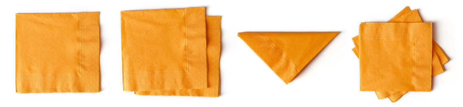 Orange paper napkins isolated on white from above