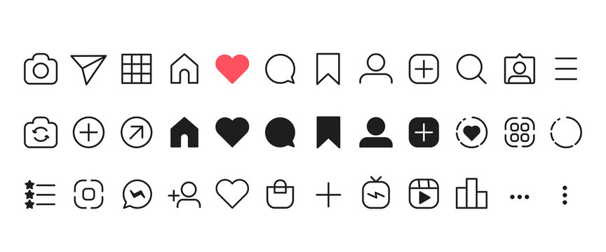 Social networking icon set. Like, comment, send, saved, statistics and other icon. Outline and black vector illustration