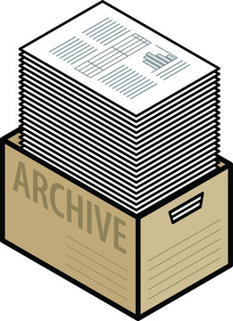A plain cardboard archive box with a tall stack of paper.