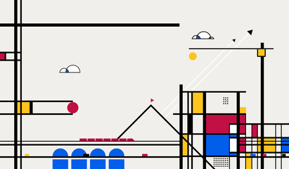 Abstract Geometric Urban Landscape in the Style of Piet Mondrian