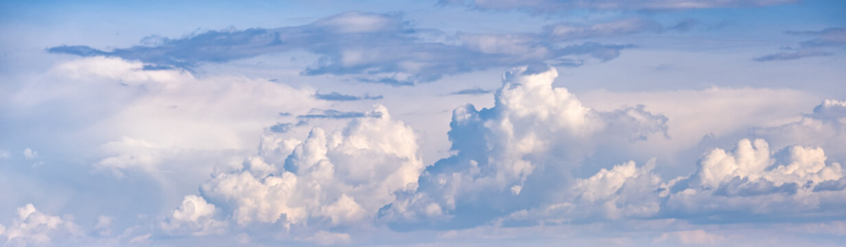 Clouds in the overcast sky view. Climate, environment and weathe