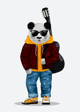Cute bear panda toy in sunglasses carrying guitar. Vector illustration EPS10