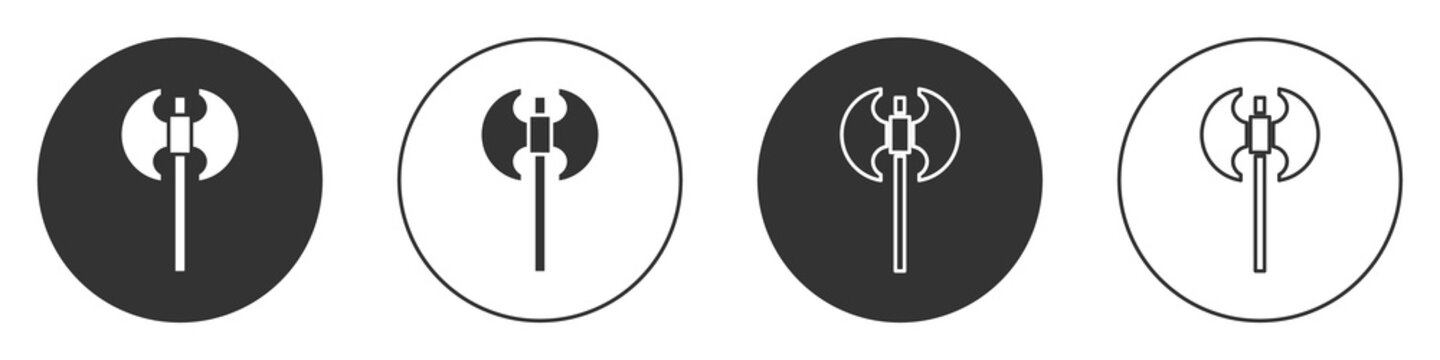 Black Medieval axe icon isolated on white background. Battle axe, executioner axe. Medieval weapon. Circle button. Vector.
