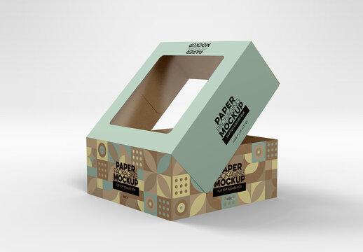 Flip Top Cake Box Open Packaging Mockup