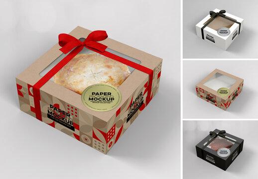 Flip Top Cake Box Packaging Mockup