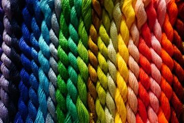 Obraz Full Frame Shot Of Multi Colored Wool On Table - fototapety do salonu