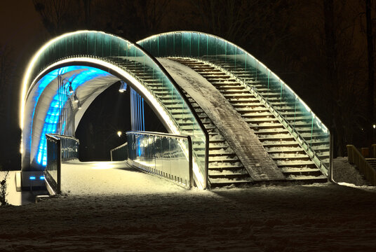 The bridge in the Ludowy Park in Lublin, illuminated by LED light - blue