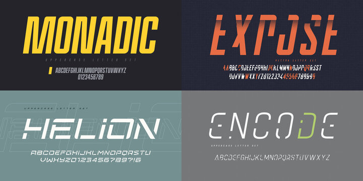 Collection of vector italic sans serif fonts, uppercase letter sets, alphabets