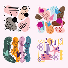 set of abstract backgrounds with floral spots various shapes and textures