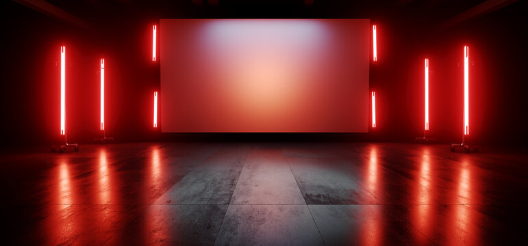 Neon Red Orange Stage Showroom Scene Concrete Floor Big White Billboard Plane Empty Vibrant Spaceship Sci Fi Futuristic Showcase Club Show Dark Cyber Virtual 3D Rendering