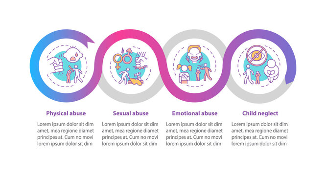 Children abuse at home vector infographic template. Children safety presentation design elements. Data visualization with 4 steps. Process timeline chart. Workflow layout with linear icons