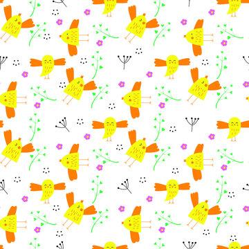 cute yellow birds spring pattern