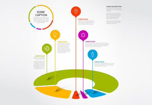 Pie Chart Infographic Layout with Droplet Pointers