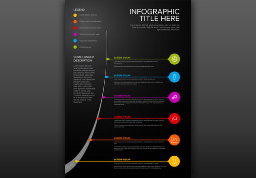 Dark Infographic Vertical Timeline Layout with Droplet Pointers