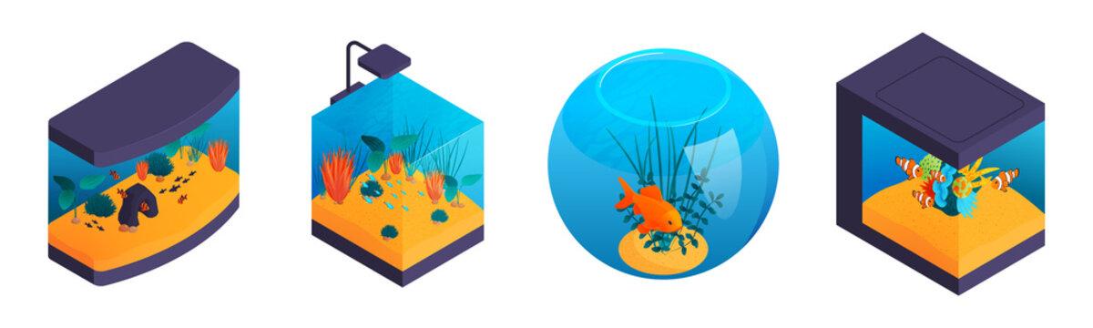 Isometric Fish Aquariums Set