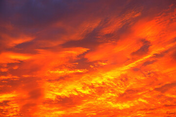 Beautiful fiery sunset during twilight hour