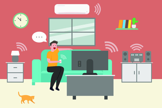 Young man connected to devices at home 2D flat vector concept for banner, website, illustration, landing page, flyer, etc