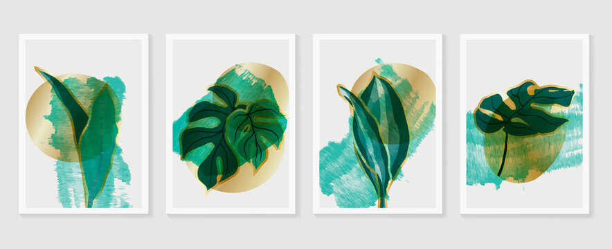 Botanical and gold abstract wall arts vector collection.  Golden and luxury pattern design with leaves line arts, Hand draw watercolor design for wall framed prints, canvas prints and poster. Vector