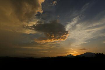 Fototapeta Silhouette Landscape Against Dramatic Sky During Sunset obraz