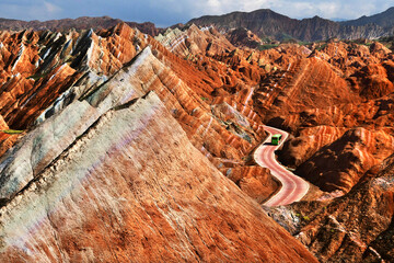 """Zhangye National Geopark , also known as """"Rainbow Hills"""" is located in Gansu province of China."""