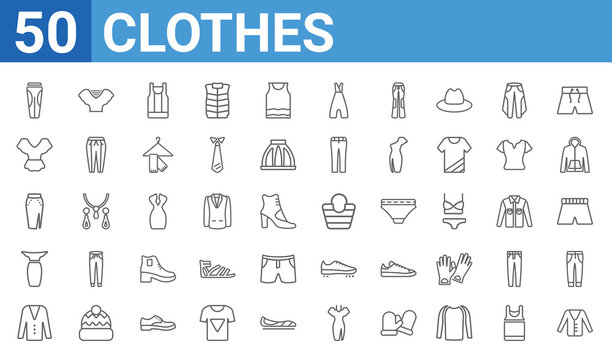 set of 50 clothes web icons. outline thin line icons such as cardigan,leggins,cotton cardigan,long bandeau dress,slit skirt,peplum top,draped top,bucket bag. vector illustration