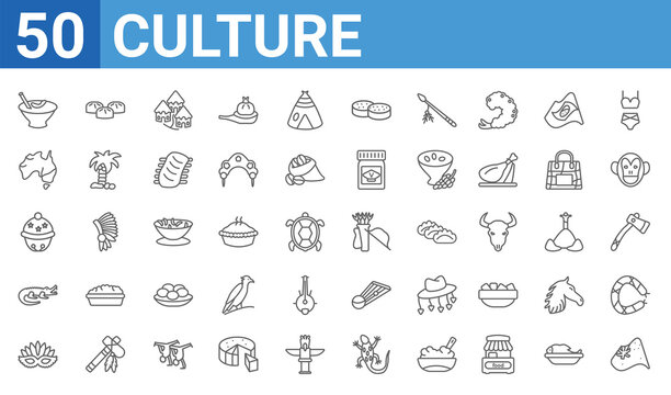 set of 50 culture web icons. outline thin line icons such as australian flag,crema catalana,mask for brazil carnival celebration,australian alligator,sleigh bell,australian continent,steamed