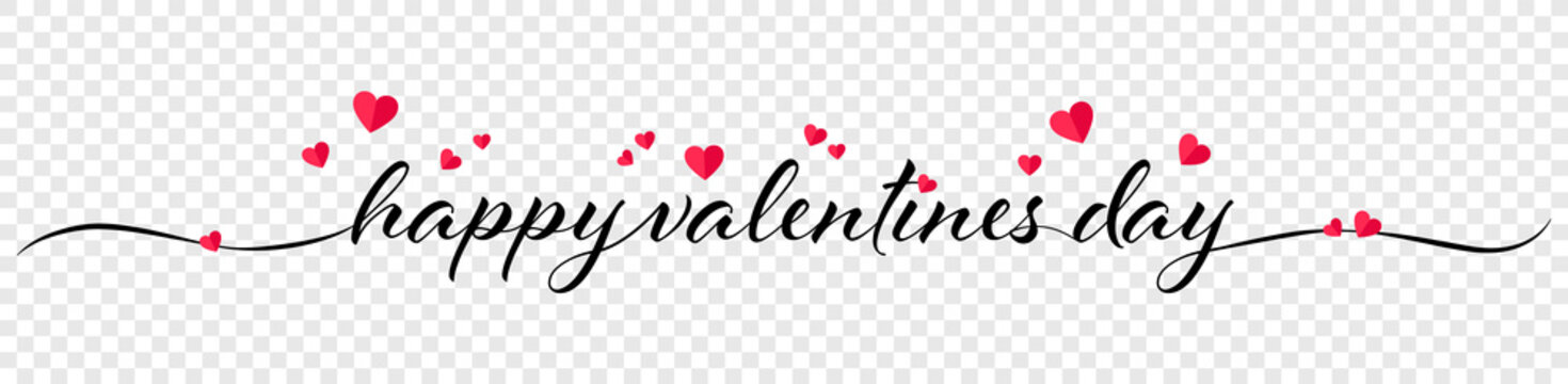 Happy valentines day calligraphy banner with red hearts isolated on transparent background