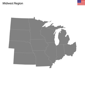 High Quality map of Midwest region of United States of America with borders
