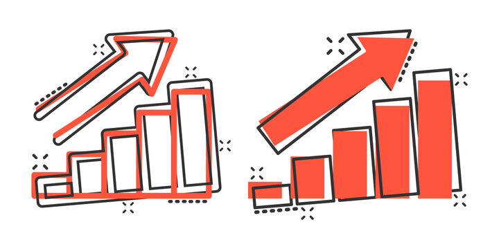 Growing bar graph icon in comic style. Increase arrow cartoon vector illustration on white background. Infographic progress splash effect business concept.