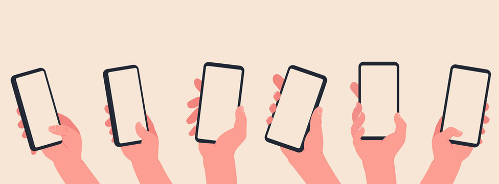 Hand hold a phone with blank screen. Hands interaction on touchscreen device. Online learning and shopping concept.