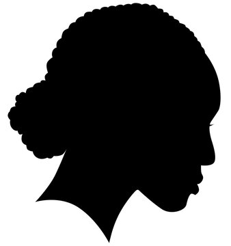 African American female, African profile picture, silhouette. girl from the side with long hair tied together, Afro American hair Isolated realistic silhouette