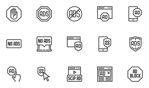 Set of No Ads Vector Line Icons. Ads Blocking, Advertisement Blocking sign. Editable Stroke. 48x48 Pixel Perfect.