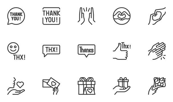 Set of Thanks Vector Line Icons. Thank You, Thankfulness, Gratitude, Appreciation. Thx Speech Bubble. Editable Stroke. 48x48 Pixel Perfect.
