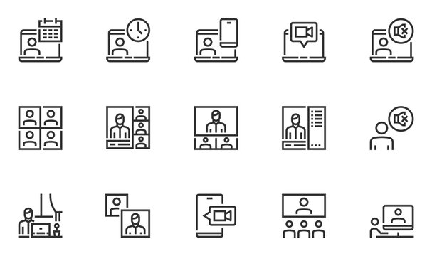 Set of Vector Line Icons Related to Online Meeting and Video Conference. Work from Home. Webcam Group Conference with Coworkers. Online Group Videoconference. Editable Stroke. 48x48 Pixel Perfect.
